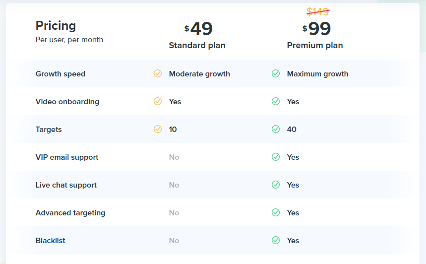 Kickstagrams pricing page
