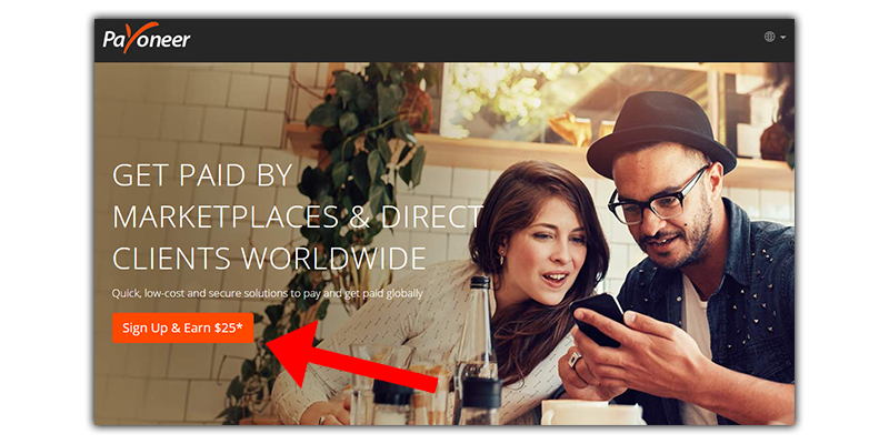 what is payoneer and their homepage with the 25 dollar incentive