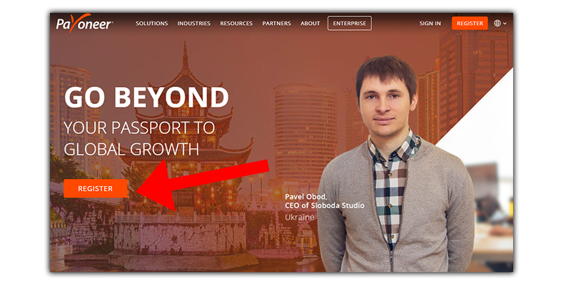 payoneers homepage without incentives